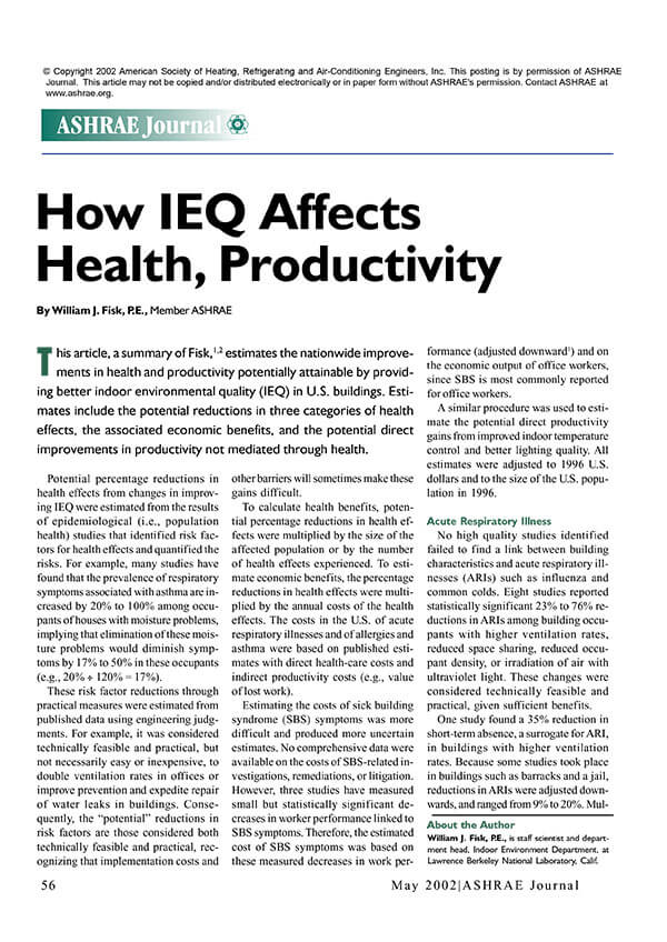 How IEQ affects people and productivity