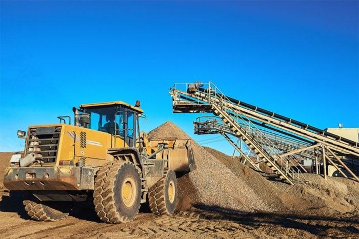 Mining site bulldozer